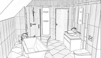 WaschSalon - Badplanung - Skizze